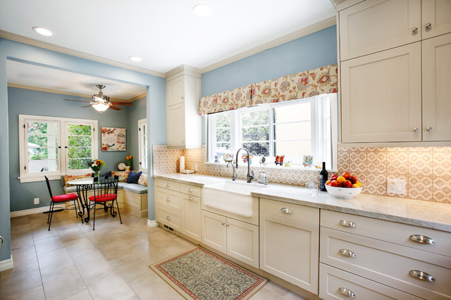Farmhouse Kitchen With Off White Cabinets Farmhouse Sink Farmhouse Kitchen Los Angeles By Sierra Custom Kitchens Inc