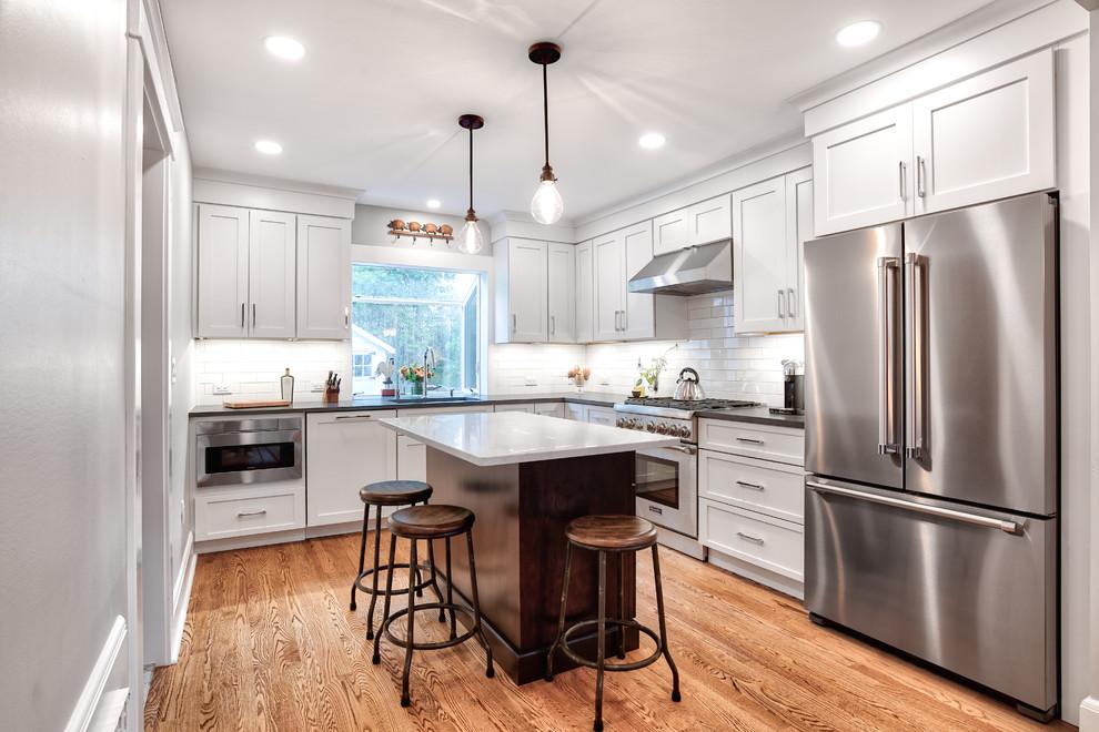 Farmhouse Kitchen with Stainless Steel Appliances & Island ...