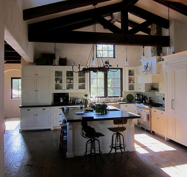 75 Trendy Open Concept Kitchen Design Ideas: Farmhouse Open Concept Kitchen In Montecito, CA