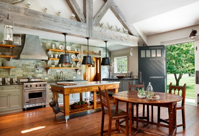 Farmhouse style custom kitchen eclectic kitchen - Lino pour cuisine ...