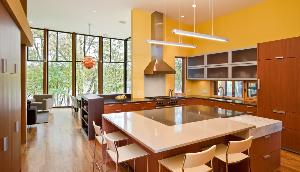 Example of a minimalist kitchen design in Minneapolis with an undermount sink, flat-panel cabinets and medium tone wood cabinets