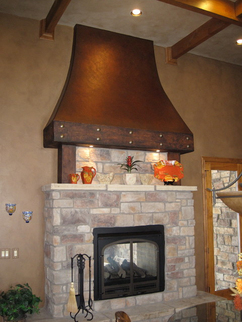 Faux Aged Copper Fireplace Hood Traditional Kitchen
