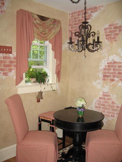 Exposed brick parisian style kitchen in summit nj rustic kitchen