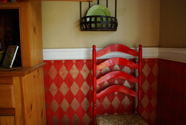 Faux Painted Harlequin Design in Red traditional kitchen