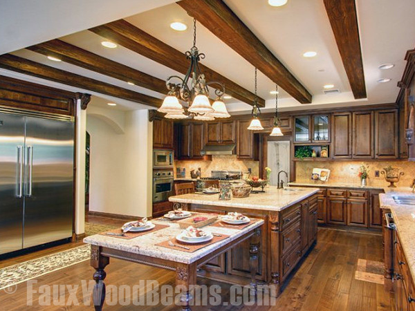 Faux Sandblasted Beam Kitchen Ceiling Traditional