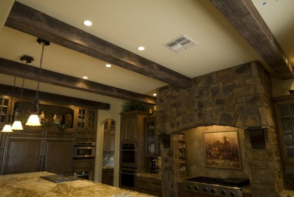 faux wood ceiling beams diy rustic kitchen installing on cathedral lowes