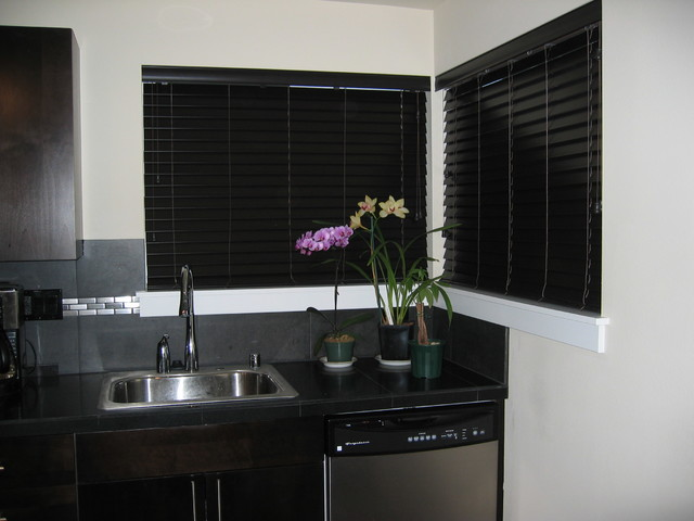 Faux Wood Blinds Contemporary Kitchen seattle by
