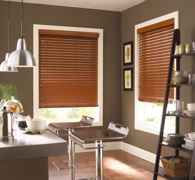 Faux Wood Horizontal Blinds Contemporary Kitchen