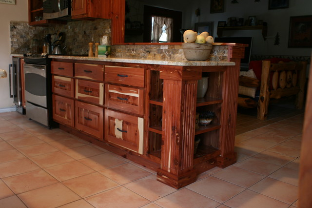 Feay cedar kitchen project rustic kitchen austin for Cedar outdoor kitchen cabinets