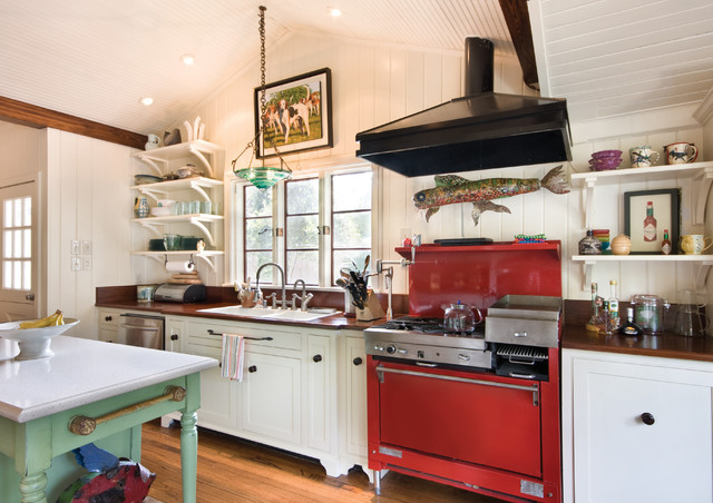 Feeney - RED Stove eclectic-kitchen