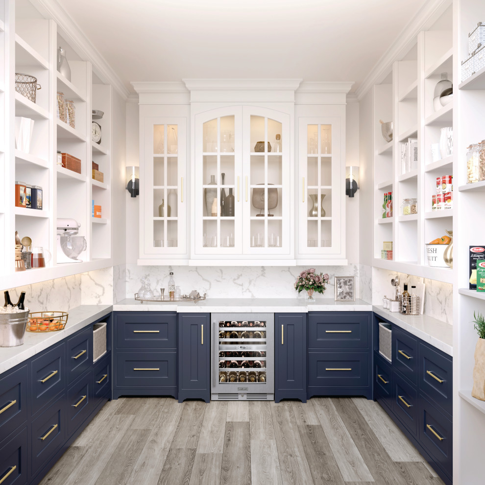 Transitional u-shaped medium tone wood floor and brown floor kitchen pantry photo in Other with shaker cabinets, blue cabinets, stainless steel appliances, no island and white countertops