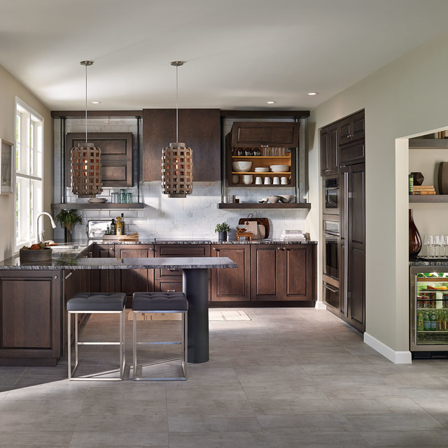 Fieldstone Cabinetry Transitional Cherry Kitchen in Slate ...