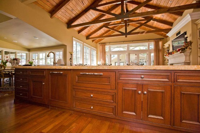 fine custom kitchen cabinets and truss ceiling by Bay Area builder - Traditional - Kitchen - san ...