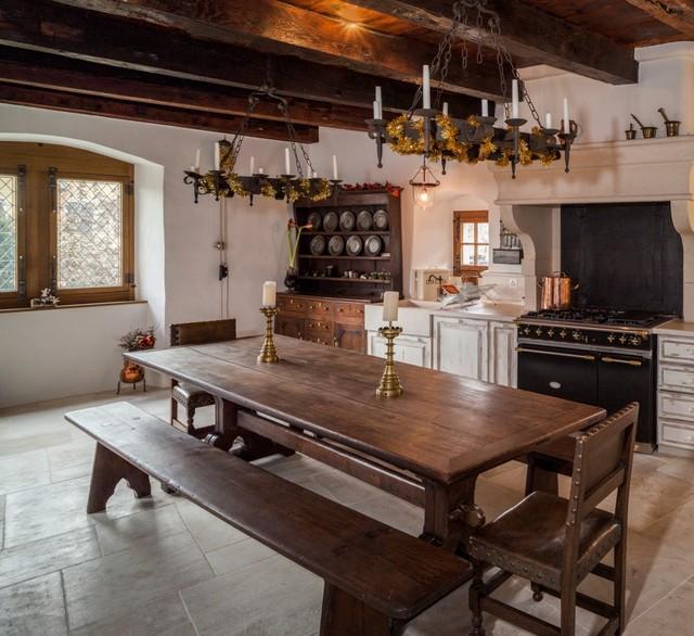Fireback backsplash in Nyon, Switzerland traditional-kitchen
