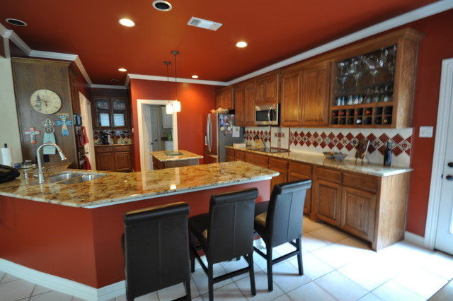 Fired Brick Red Kitchen Faux Leather Bar Urbane Bronze