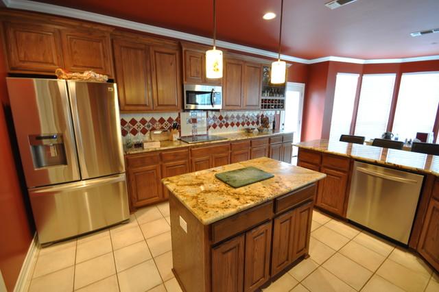 fired brick red kitchen faux leather bar urbane bronze. Black Bedroom Furniture Sets. Home Design Ideas