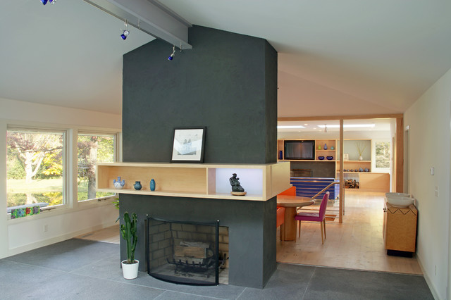 Fireplace and Kitchen beyond midcentury-kitchen