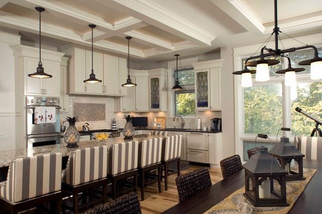 Beach Style Kitchen Idea In Chicago With Granite Countertops
