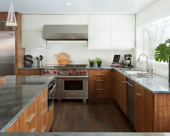 Stainless Steel Appliances, Medium Tone Wood Cabinets, Red Cabinets