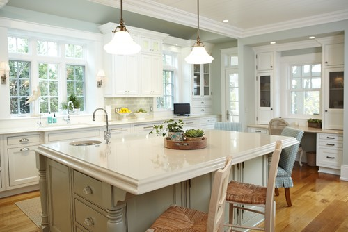 The Island And Lower Cabinets Are Gray Horse By Benjamin Moore Ooodles Of Natural Light Streaming Into All Of The Beautiful Windows And A Soft Green On