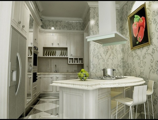 Fitting an island small white kitchen rustic traditional for Small 10x10 kitchen ideas