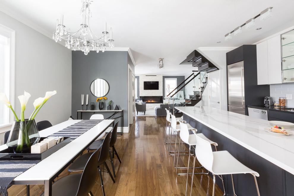 Mid-century modern kitchen photo in New York