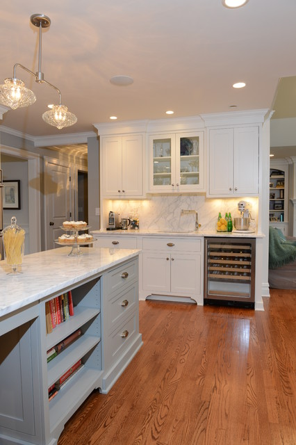 Flat Panel White Paint Flush Inset Cabinetry with Gorgeous Marble Counter tops traditional-kitchen