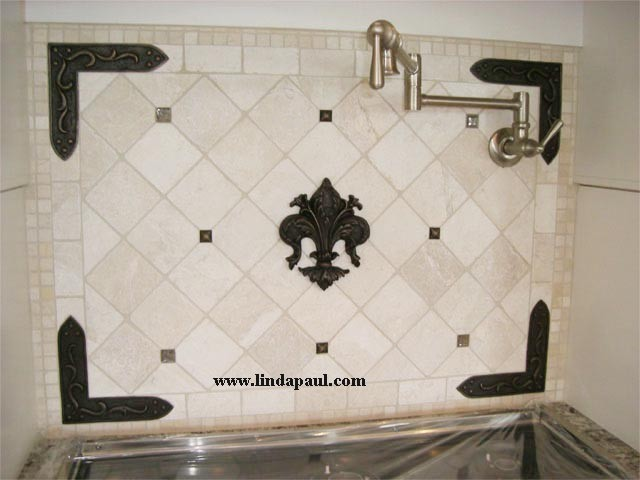 Fleur de Lis kitchen backsplash idea from LInda Paul Studio ...
