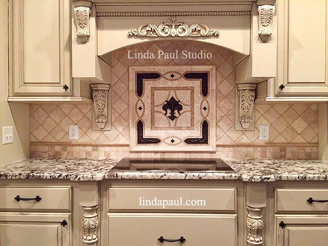 Kitchen Backsplash Medallions fleur de lis tile backsplash medallion - kitchen medallions