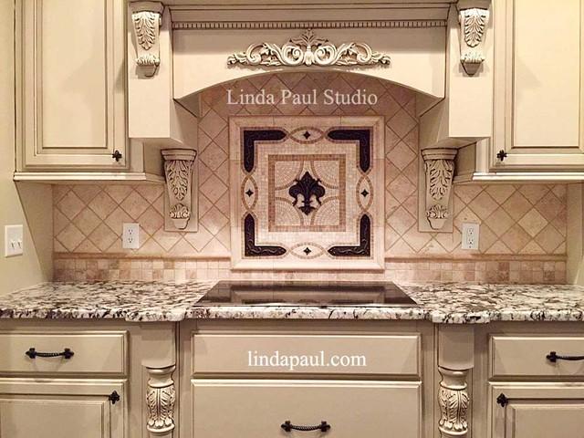 Fleur de Lis Tile Backsplash Medallion - Kitchen Medallions - Traditional - Kitchen - Denver ...