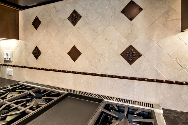 Fleur De Lys Backsplash Traditional Kitchen