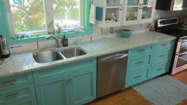 Floating blue vetrazzo and teal cabinetry eclectic for Teal kitchen cabinets