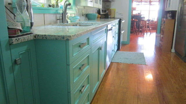 Floating Blue Vetrazzo and Teal Cabinetry  Eclectic  Kitchen  tampa