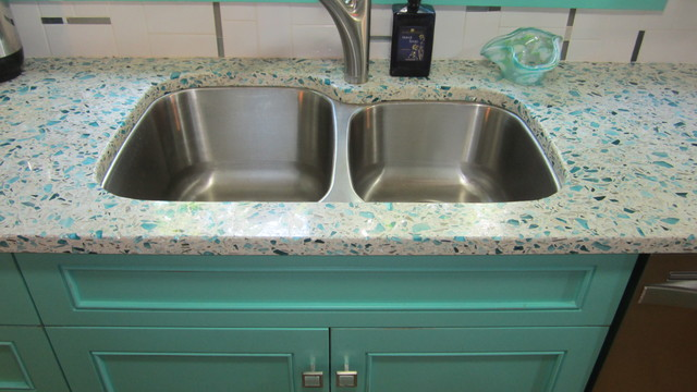 Floating Blue Vetrazzo and Teal Cabinetry eclectic-kitchen