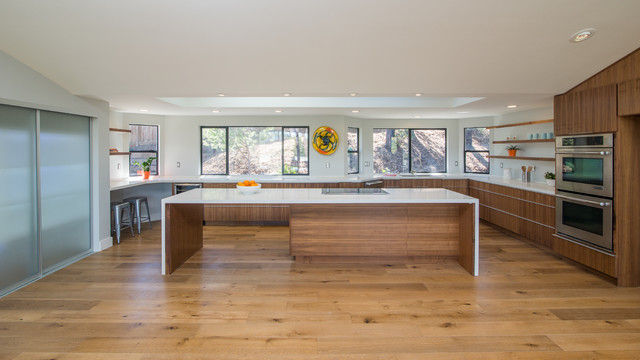 Floating double sided island rift cut walnut Kitchen cabinets - Contemporary - Kitchen - San ...