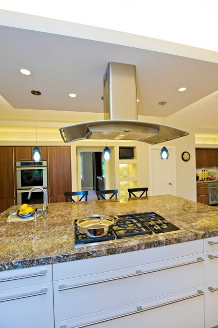 Floating hood over kitchen island in Bay Area remodel ...