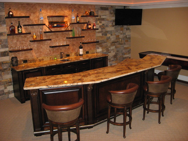 Floating shelves contemporary kitchen atlanta by true carpentry and cabinetry - Home bar shelving ideas ...