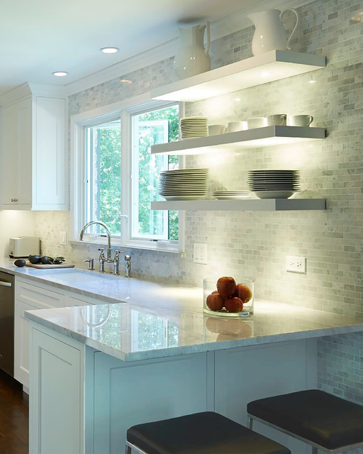 Modern Kitchen Shelves Pleasing Floating Shelves With Undermount Lighting  Modern  Kitchen