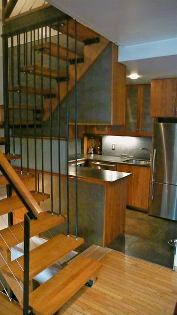 Floating Stairs and Kitchen contemporary-kitchen