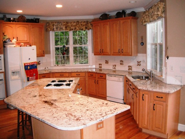Floratta White Granite For Light Wood Cabinets Traditional Kitchen Charlotte By