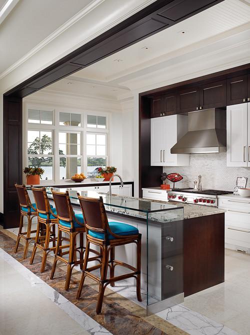 Tropical Kitchen by Toronto Interior Designers & Decorators John David Edison Interior Design Inc.