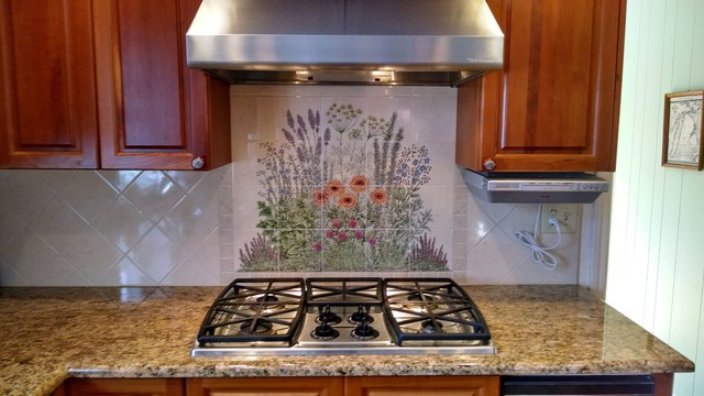 flowering herb garden decorative kitchen backsplash tile