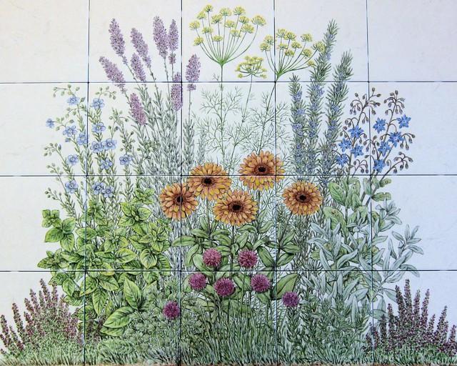 Flowering Herb Garden decorative kitchen backsplash tile mural – Decorative Herb Garden