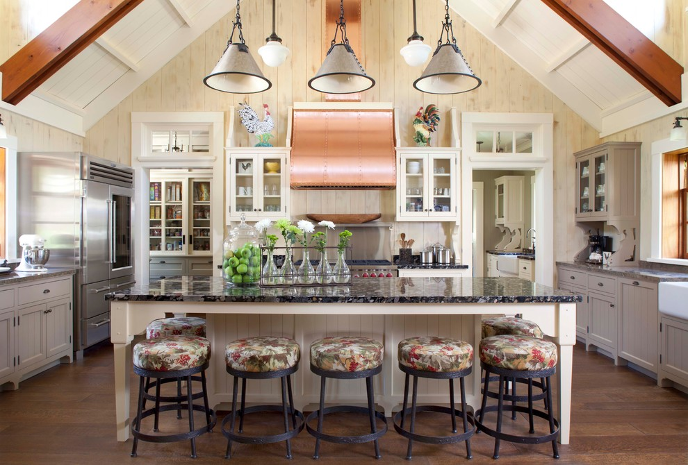 Elegant u-shaped kitchen photo in Denver with recessed-panel cabinets, gray cabinets, stainless steel appliances and a farmhouse sink