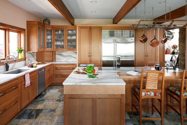 Kitchen Of The Week Cherry Cabinets And 2 Islands Wow In Indiana