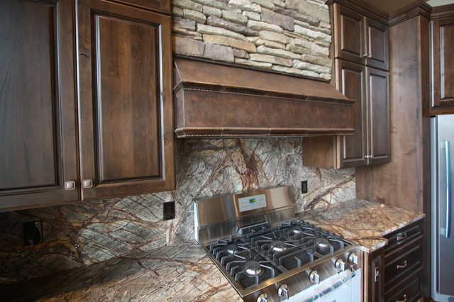 forest web mahogany marble backsplash rustic kitchen cleveland