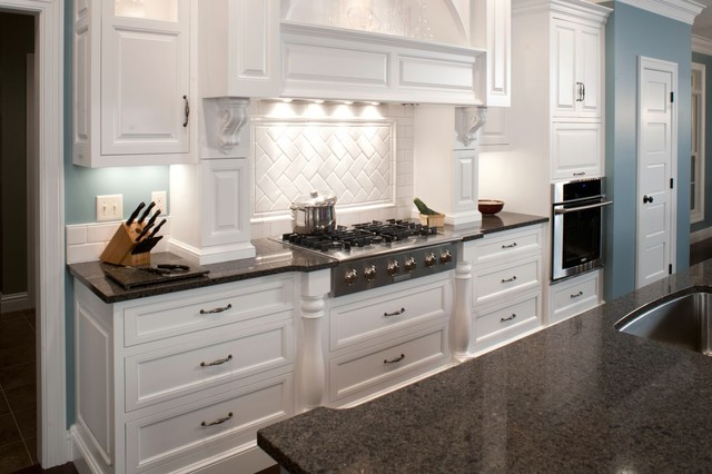 Formal white kitchen with blue island - Mullet Cabinet traditional-kitchen