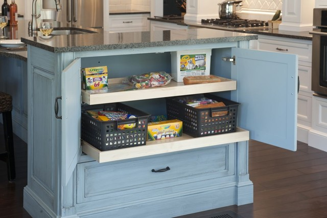 Formal white kitchen with blue island - Mullet Cabinet - Traditional - Kitchen - Cleveland - by ...