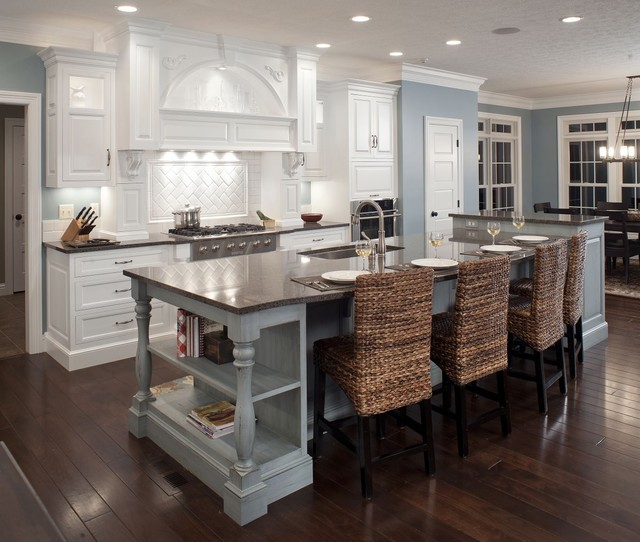 Formal White Kitchen With Blue Island Mullet Cabinet