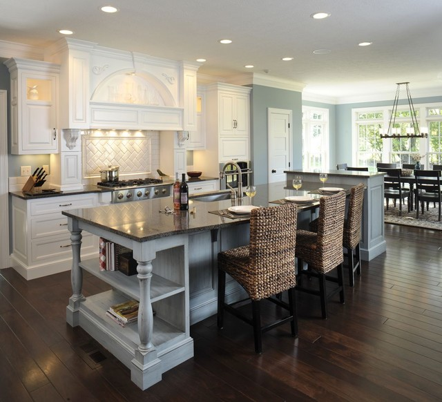 Formal White Kitchen With Blue Island Mullet Cabinet American Traditional